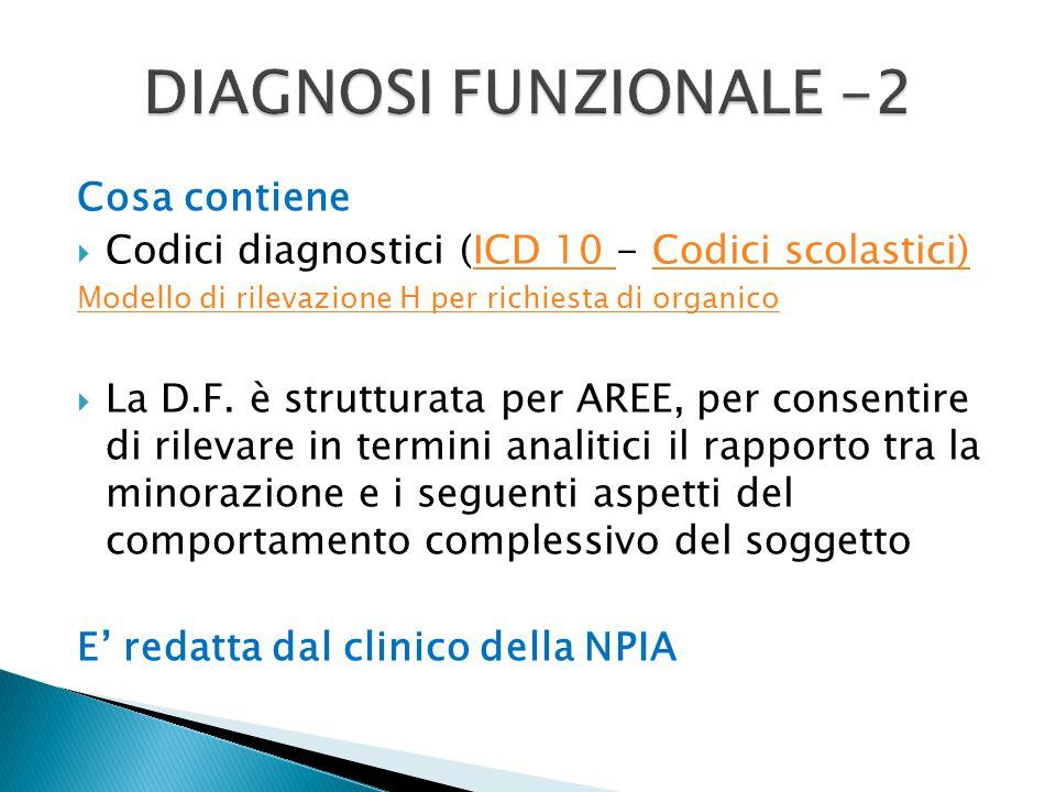 Cosa contiene  Codici diagnostici (ICD 10 - Codici scolastici)ICD 10 Codici scolastici) Modello di rilevazione H per richiesta di organico  La D.F.