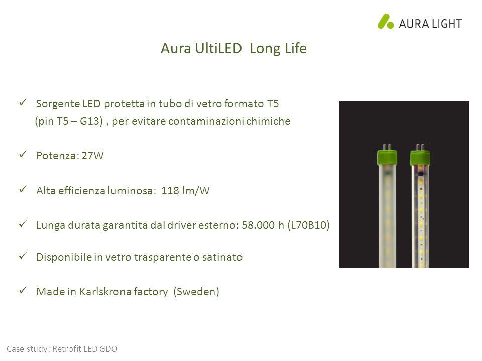 Aura UltiLED Long Life Sorgente LED protetta in tubo di vetro formato T5 (pin T5 – G13), per evitare contaminazioni chimiche Potenza: 27W Alta efficienza luminosa: 118 lm/W Lunga durata garantita dal driver esterno: 58.000 h (L70B10) Disponibile in vetro trasparente o satinato Made in Karlskrona factory (Sweden) Case study: Retrofit LED GDO