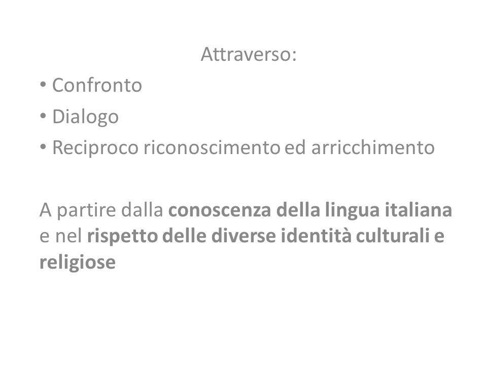 Attraverso: Confronto Dialogo Reciproco riconoscimento ed arricchimento A partire dalla conoscenza della lingua italiana e nel rispetto delle diverse