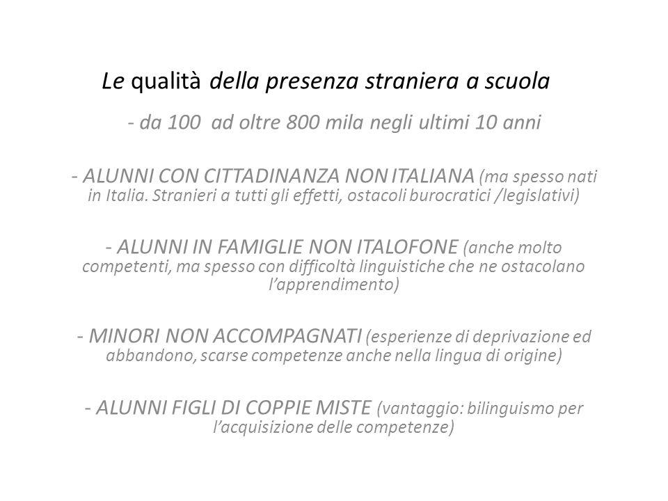 Le qualità della presenza straniera a scuola - da 100 ad oltre 800 mila negli ultimi 10 anni - ALUNNI CON CITTADINANZA NON ITALIANA (ma spesso nati in
