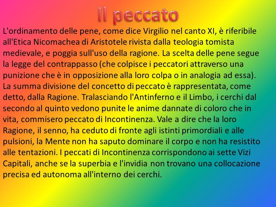 L'ordinamento delle pene, come dice Virgilio nel canto XI, è riferibile all'Etica Nicomachea di Aristotele rivista dalla teologia tomista medievale, e