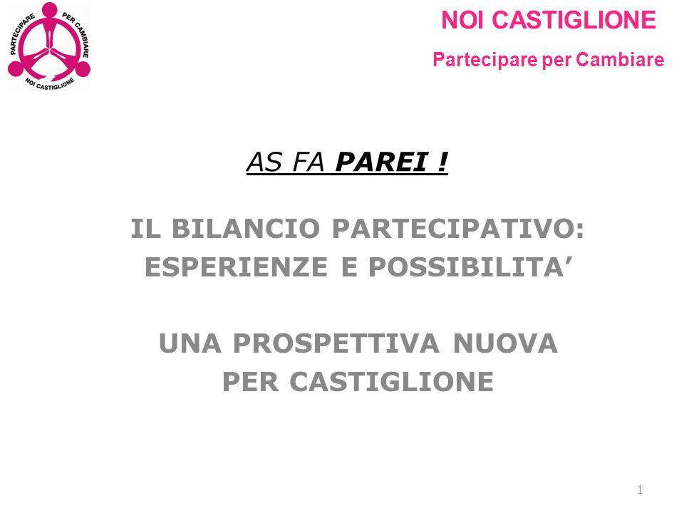 NOI CASTIGLIONE Partecipare per Cambiare AS FA PAREI ! IL BILANCIO PARTECIPATIVO: ESPERIENZE E POSSIBILITA' UNA PROSPETTIVA NUOVA PER CASTIGLIONE 1