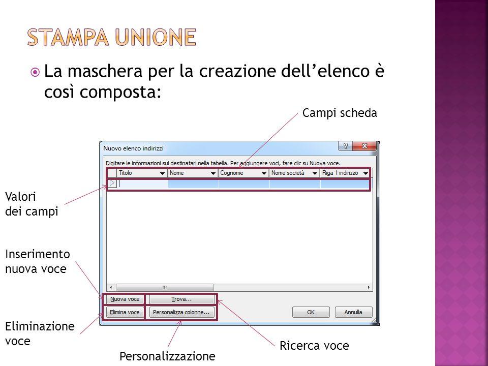  La maschera per la creazione dell'elenco è così composta: Campi scheda Valori dei campi Inserimento nuova voce Eliminazione voce Ricerca voce Person