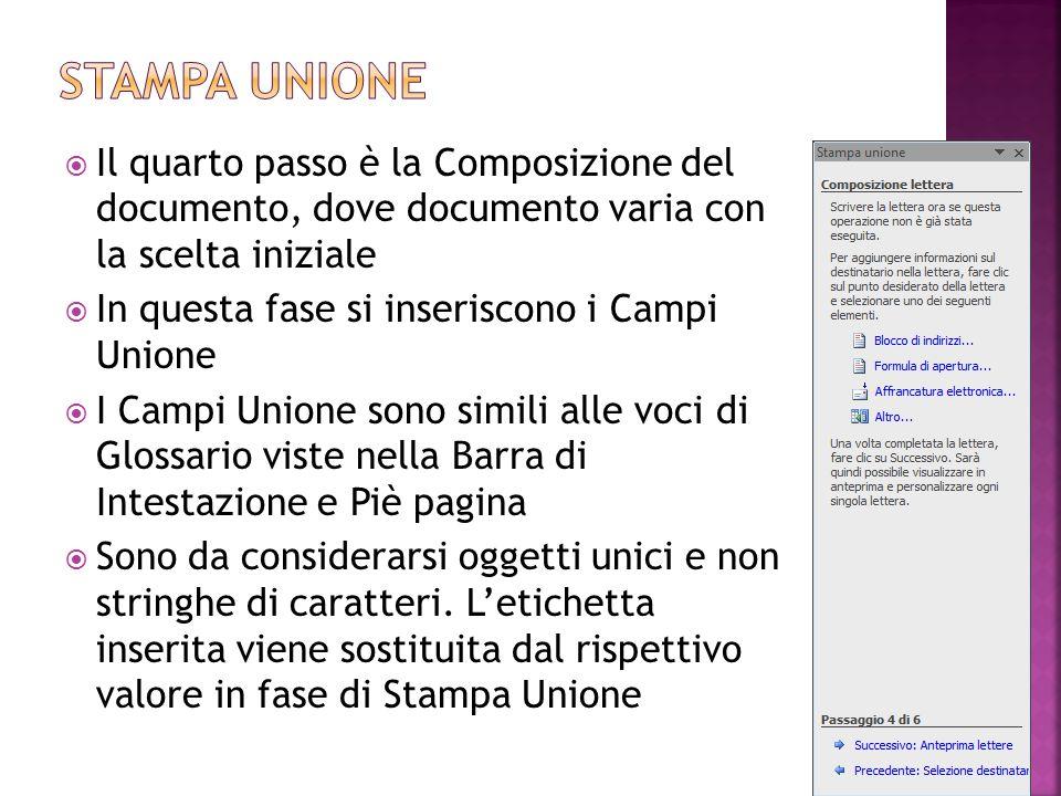  Il quarto passo è la Composizione del documento, dove documento varia con la scelta iniziale  In questa fase si inseriscono i Campi Unione  I Camp