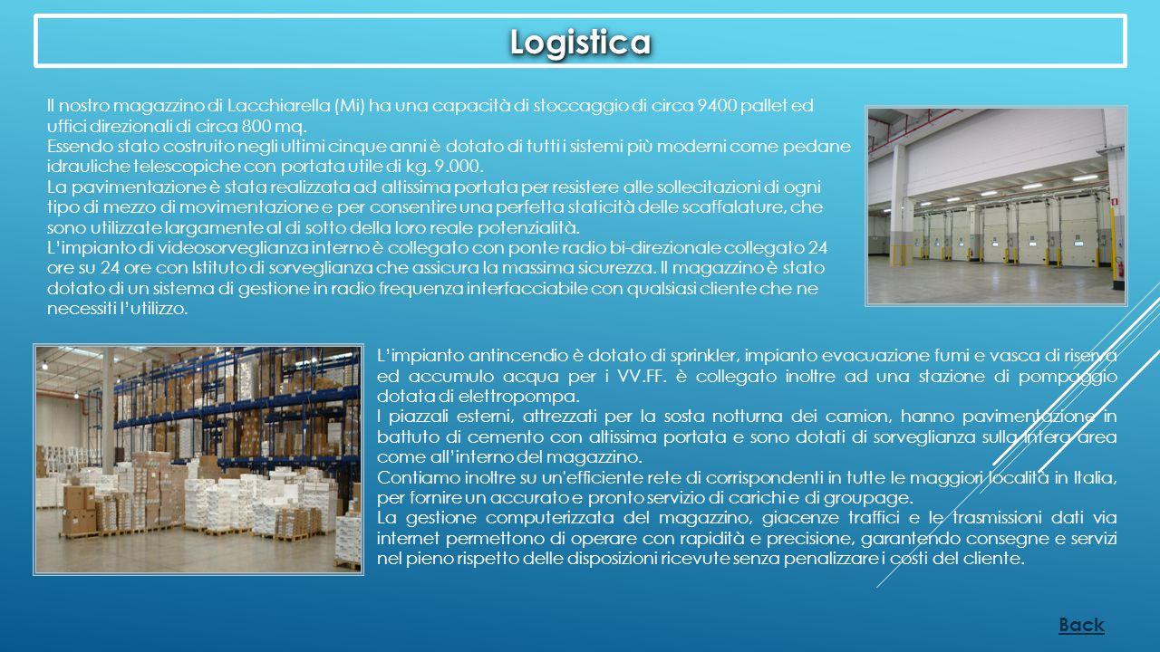 Back Il nostro magazzino di Lacchiarella (Mi) ha una capacità di stoccaggio di circa 9400 pallet ed uffici direzionali di circa 800 mq. Essendo stato