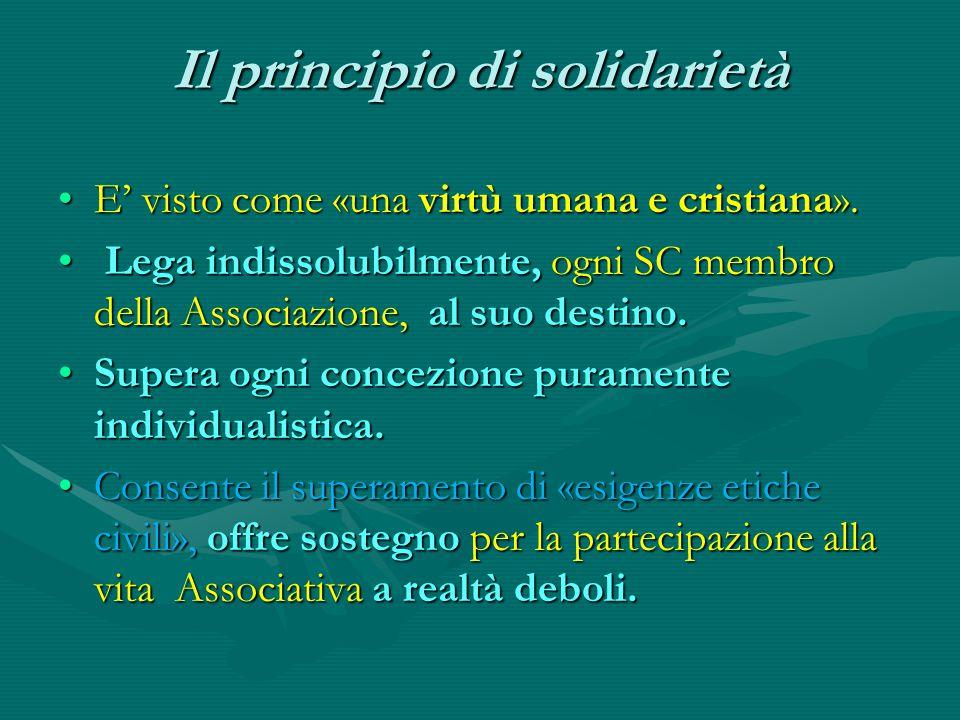 Il principio di solidarietà E' visto come «una virtù umana e cristiana».E' visto come «una virtù umana e cristiana». Lega indissolubilmente, ogni SC m