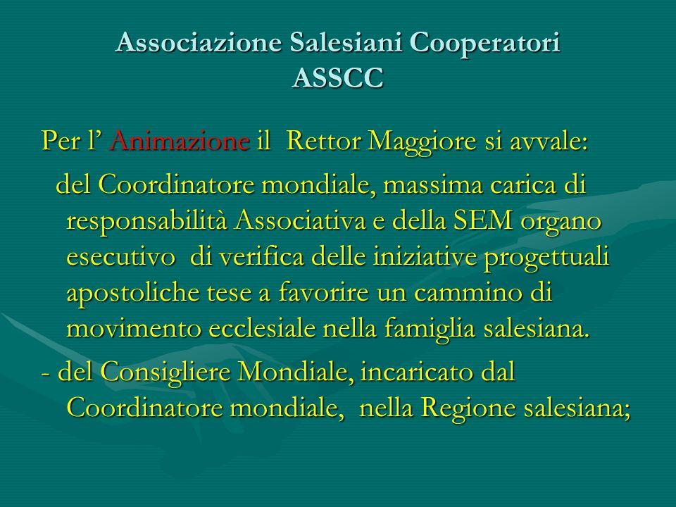 Associazione Salesiani Cooperatori ASSCC Per l' Animazione il Rettor Maggiore si avvale: del Coordinatore mondiale, massima carica di responsabilità A