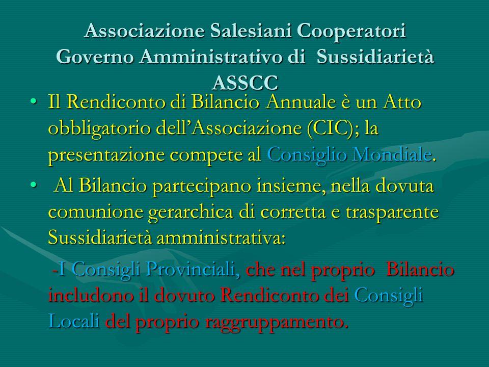 Associazione Salesiani Cooperatori Governo Amministrativo di Sussidiarietà ASSCC Il Rendiconto di Bilancio Annuale è un Atto obbligatorio dell'Associa