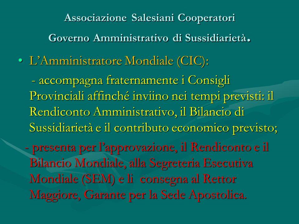 Associazione Salesiani Cooperatori Governo Amministrativo di Sussidiarietà. L'Amministratore Mondiale (CIC):L'Amministratore Mondiale (CIC): - accompa
