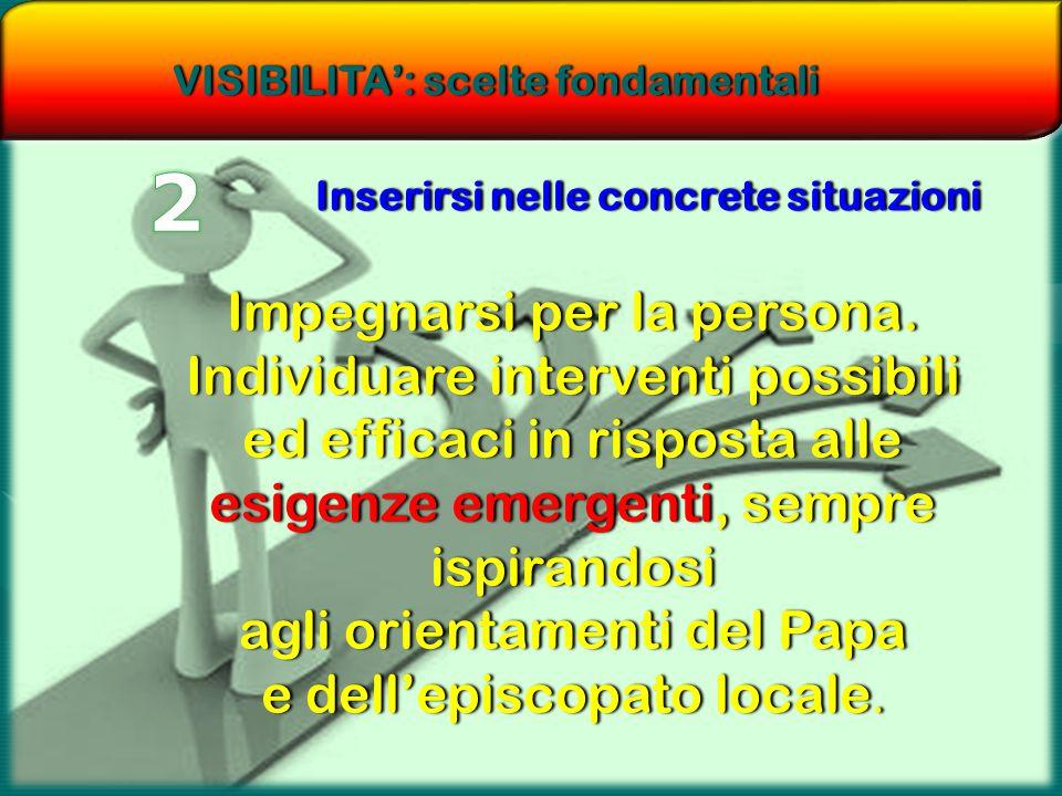 VISIBILITA': scelte fondamentaliVISIBILITA': scelte fondamentali Inserirsi nelle concrete situazioniInserirsi nelle concrete situazioni Impegnarsi per