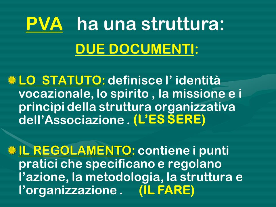 DUE DOCUMENTI: LO STATUTO: definisce l' identità vocazionale, lo spirito, la missione e i princìpi della struttura organizzativa dell'Associazione. IL