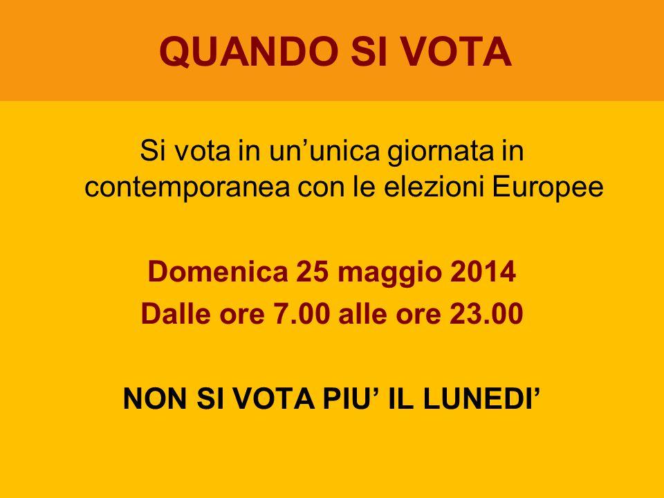 Si vota in un'unica giornata in contemporanea con le elezioni Europee Domenica 25 maggio 2014 Dalle ore 7.00 alle ore 23.00 NON SI VOTA PIU' IL LUNEDI