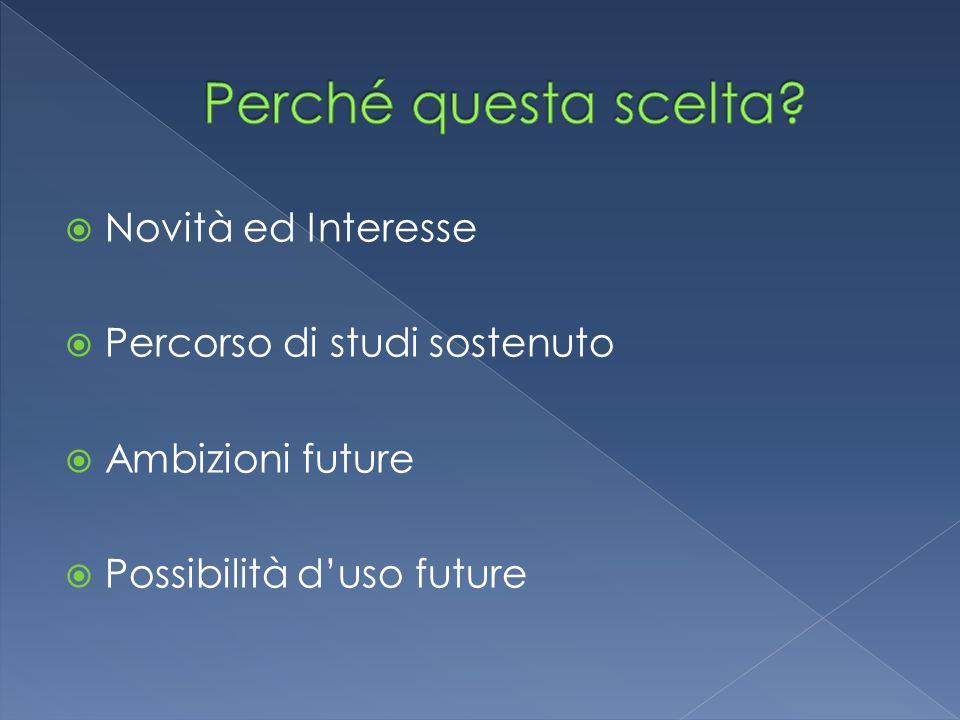  Novità ed Interesse  Percorso di studi sostenuto  Ambizioni future  Possibilità d'uso future