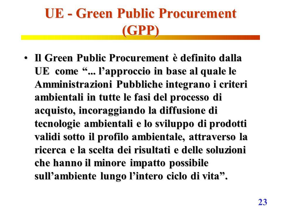 23 UE - Green Public Procurement (GPP) Il Green Public Procurement è definito dalla UE come ...