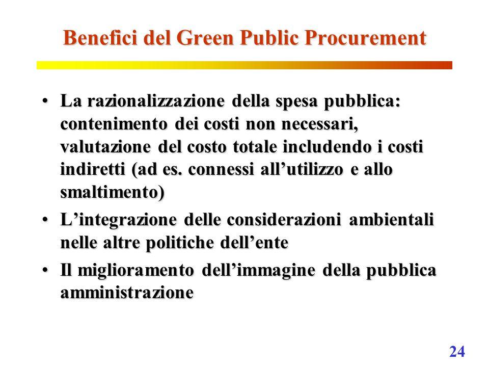 24 Benefici del Green Public Procurement La razionalizzazione della spesa pubblica: contenimento dei costi non necessari, valutazione del costo totale includendo i costi indiretti (ad es.