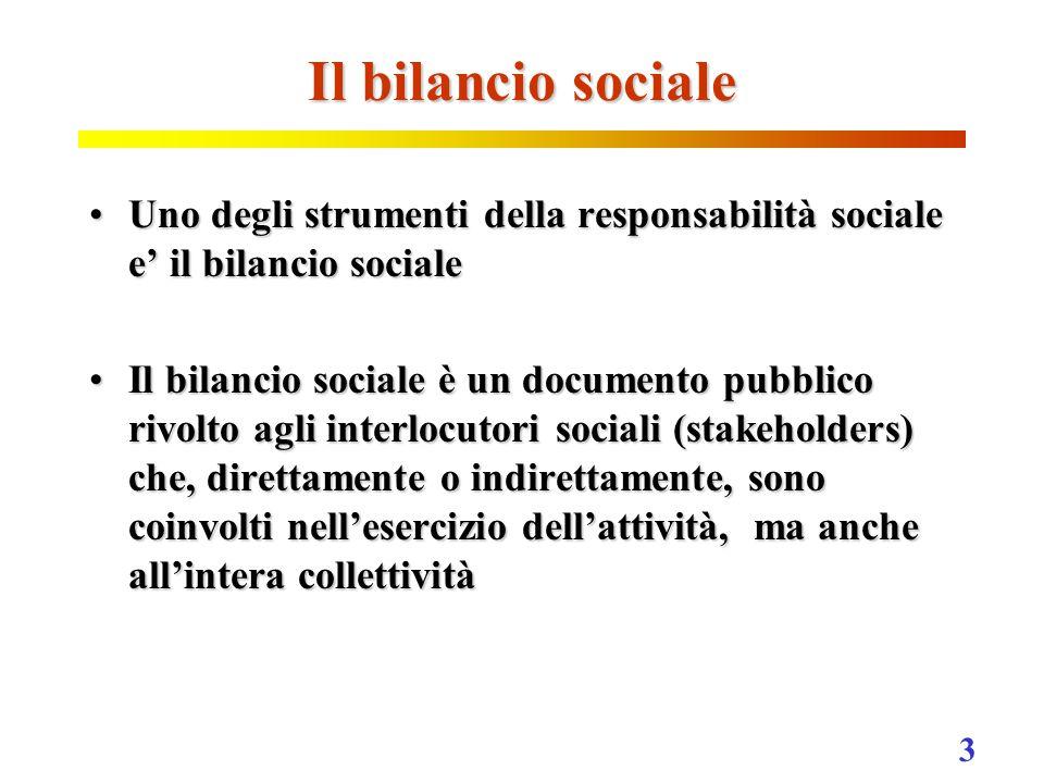 3 Il bilancio sociale Uno degli strumenti della responsabilità sociale e' il bilancio socialeUno degli strumenti della responsabilità sociale e' il bilancio sociale Il bilancio sociale è un documento pubblico rivolto agli interlocutori sociali (stakeholders) che, direttamente o indirettamente, sono coinvolti nell'esercizio dell'attività, ma anche all'intera collettivitàIl bilancio sociale è un documento pubblico rivolto agli interlocutori sociali (stakeholders) che, direttamente o indirettamente, sono coinvolti nell'esercizio dell'attività, ma anche all'intera collettività