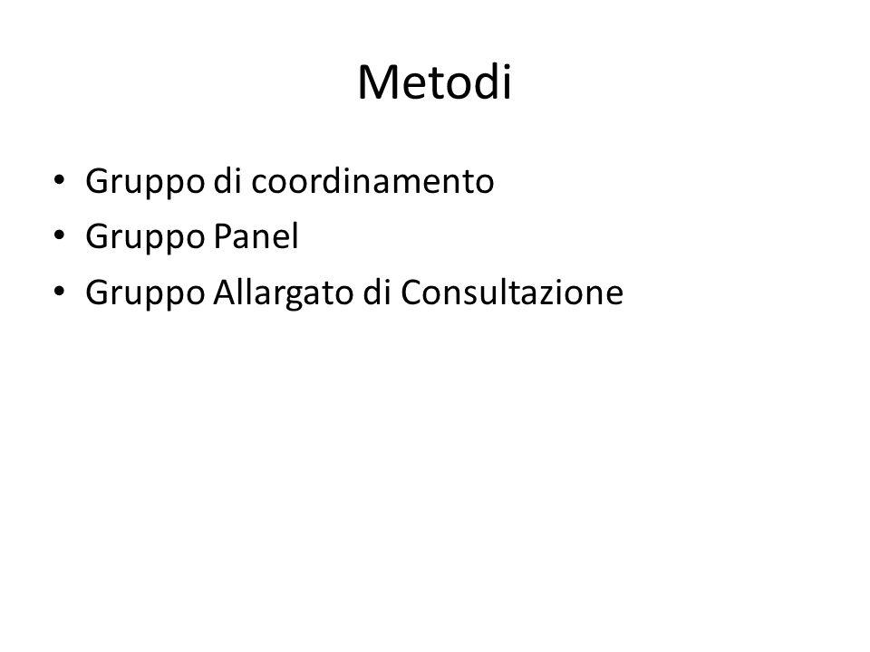Metodi Gruppo di coordinamento Gruppo Panel Gruppo Allargato di Consultazione