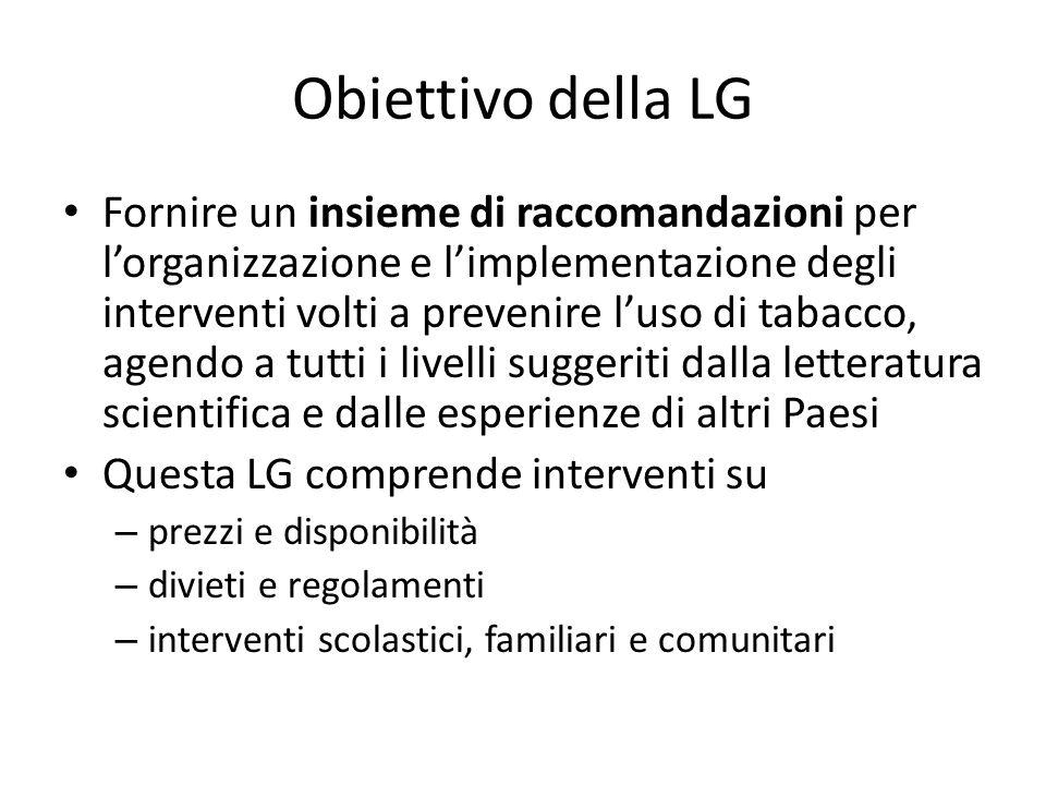 Obiettivo della LG Fornire un insieme di raccomandazioni per l'organizzazione e l'implementazione degli interventi volti a prevenire l'uso di tabacco,