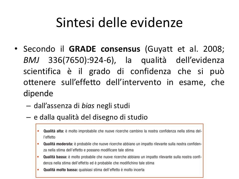 Sintesi delle evidenze Secondo il GRADE consensus (Guyatt et al. 2008; BMJ 336(7650):924-6), la qualità dell'evidenza scientifica è il grado di confid