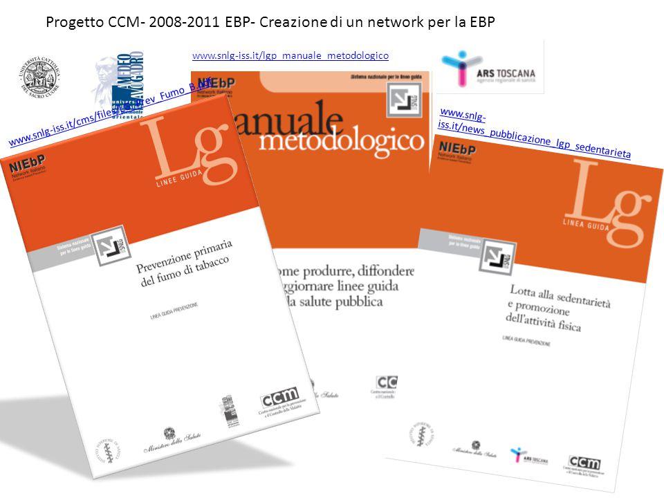 Progetto CCM- 2008-2011 EBP- Creazione di un network per la EBP www.snlg-iss.it/lgp_manuale_metodologico www.snlg- iss.it/news_pubblicazione_lgp_seden
