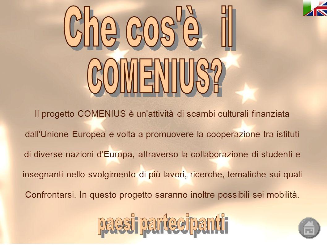 Il progetto COMENIUS è un attività di scambi culturali finanziata dall Unione Europea e volta a promuovere la cooperazione tra istituti di diverse nazioni d'Europa, attraverso la collaborazione di studenti e insegnanti nello svolgimento di più lavori, ricerche, tematiche sui quali Confrontarsi.