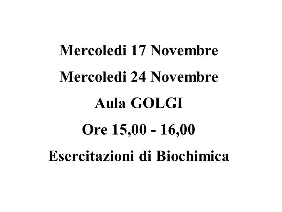 Mercoledi 17 Novembre Mercoledi 24 Novembre Aula GOLGI Ore 15,00 - 16,00 Esercitazioni di Biochimica