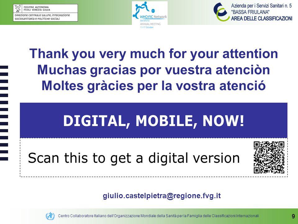 Centro Collaboratore Italiano dell'Organizzazione Mondiale della Sanità per la Famiglia delle Classificazioni Internazionali 9 Thank you very much for
