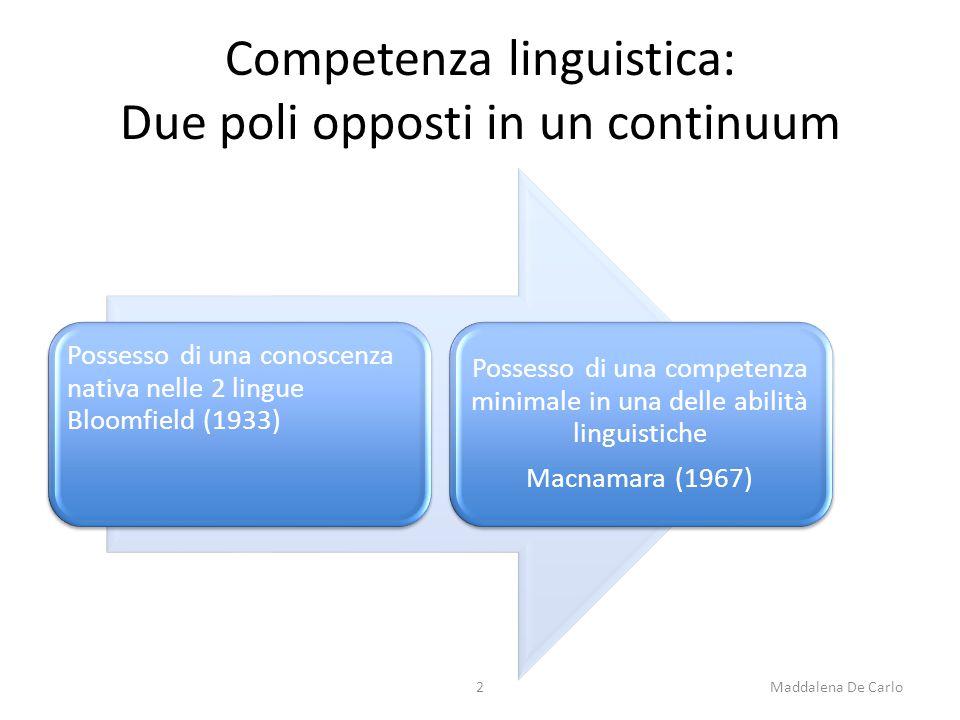 Competenza linguistica: Due poli opposti in un continuum Possesso di una conoscenza nativa nelle 2 lingue Bloomfield (1933) Possesso di una competenza minimale in una delle abilità linguistiche Macnamara (1967) 2Maddalena De Carlo