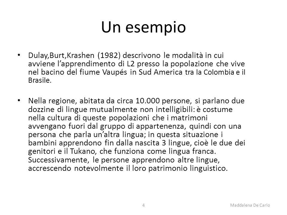 Un esempio Dulay,Burt,Krashen (1982) descrivono le modalità in cui avviene l'apprendimento di L2 presso la popolazione che vive nel bacino del fiume Vaupés in Sud America tra la Colombia e il Brasile.