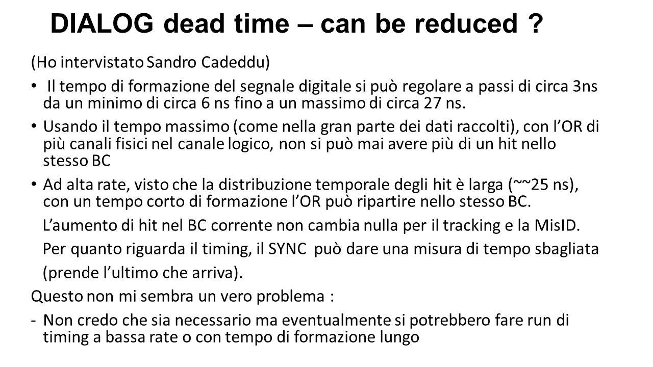 (Ho intervistato Sandro Cadeddu) Il tempo di formazione del segnale digitale si può regolare a passi di circa 3ns da un minimo di circa 6 ns fino a un massimo di circa 27 ns.