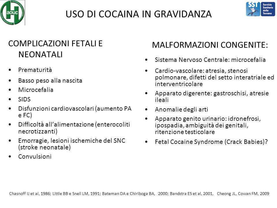 USO DI COCAINA IN GRAVIDANZA COMPLICAZIONI FETALI E NEONATALI Prematurità Basso peso alla nascita Microcefalia SIDS Disfunzioni cardiovascolari (aumento PA e FC) Difficoltà all'alimentazione (enterocoliti necrotizzanti) Emorragie, lesioni ischemiche del SNC (stroke neonatale) Convulsioni MALFORMAZIONI CONGENITE: Sistema Nervoso Centrale: microcefalia Cardio-vascolare: atresia, stenosi polmonare, difetti del setto interatriale ed interventricolare Apparato digerente: gastroschisi, atresie ileali Anomalie degli arti Apparato genito urinario: idronefrosi, ipospadia, ambiguità dei genitali, ritenzione testicolare Fetal Cocaine Syndrome (Crack Babies).