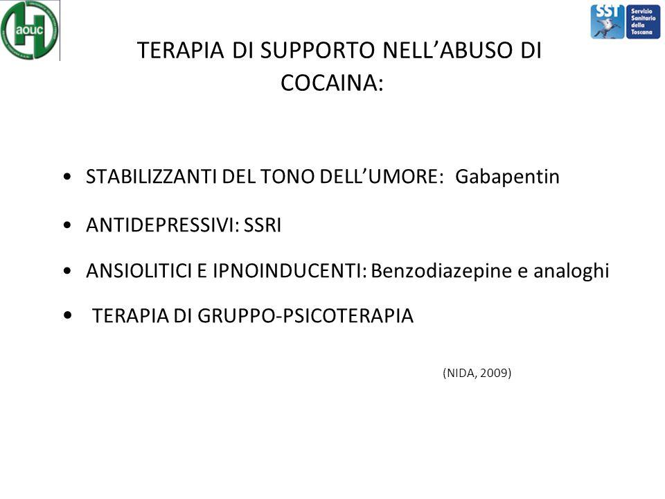 TERAPIA DI SUPPORTO NELL'ABUSO DI COCAINA: STABILIZZANTI DEL TONO DELL'UMORE: Gabapentin ANTIDEPRESSIVI: SSRI ANSIOLITICI E IPNOINDUCENTI: Benzodiazepine e analoghi TERAPIA DI GRUPPO-PSICOTERAPIA (NIDA, 2009)