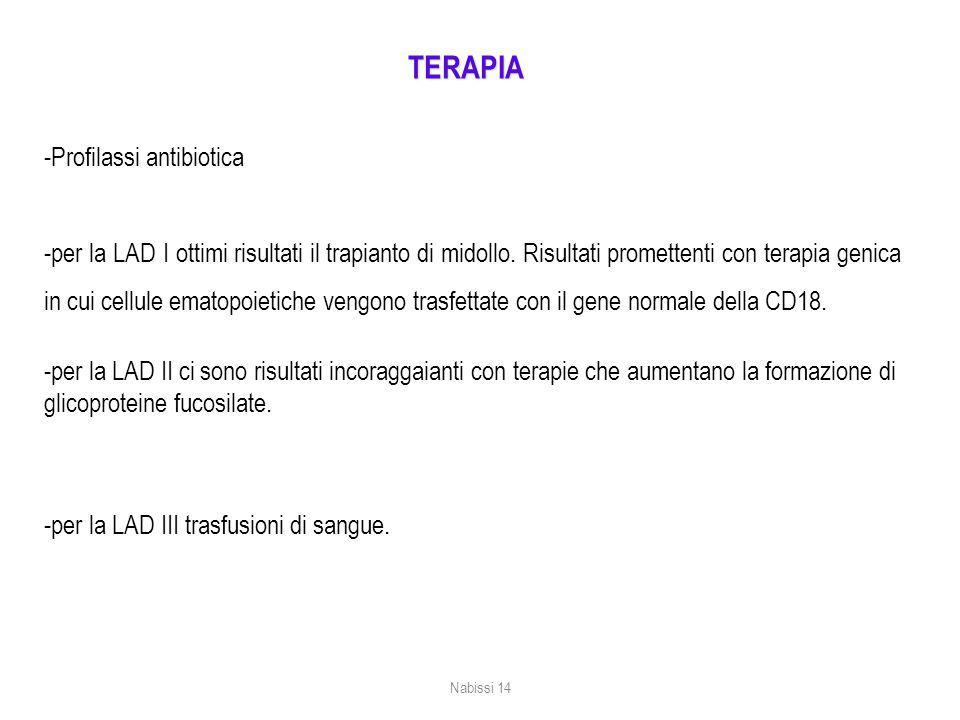 TERAPIA -Profilassi antibiotica -per la LAD I ottimi risultati il trapianto di midollo.