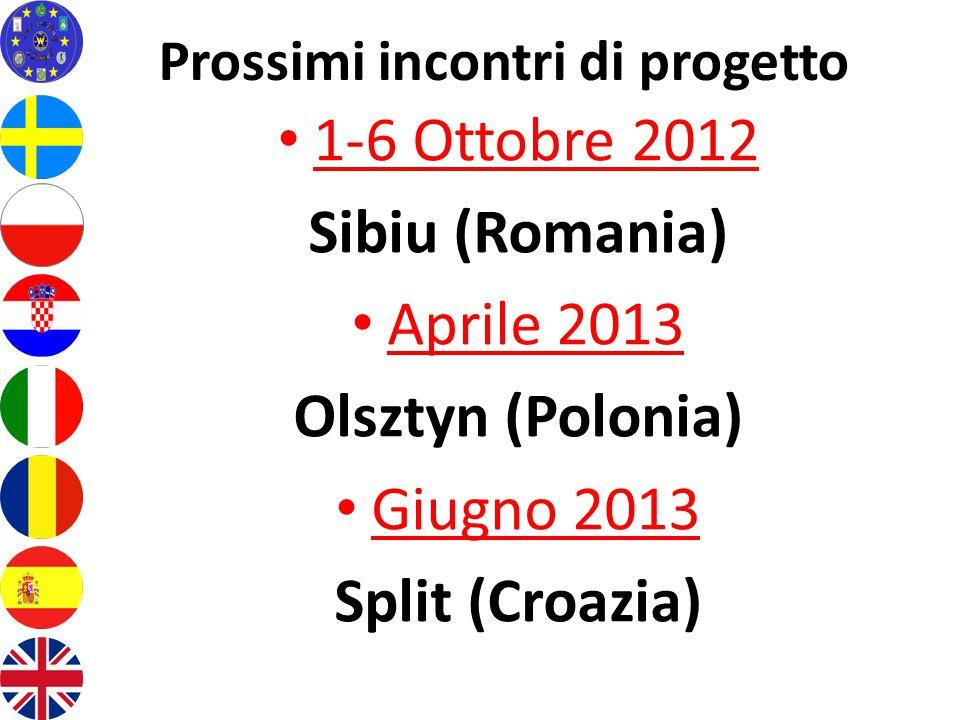Prossimi incontri di progetto 1-6 Ottobre 2012 Sibiu (Romania) Aprile 2013 Olsztyn (Polonia) Giugno 2013 Split (Croazia)