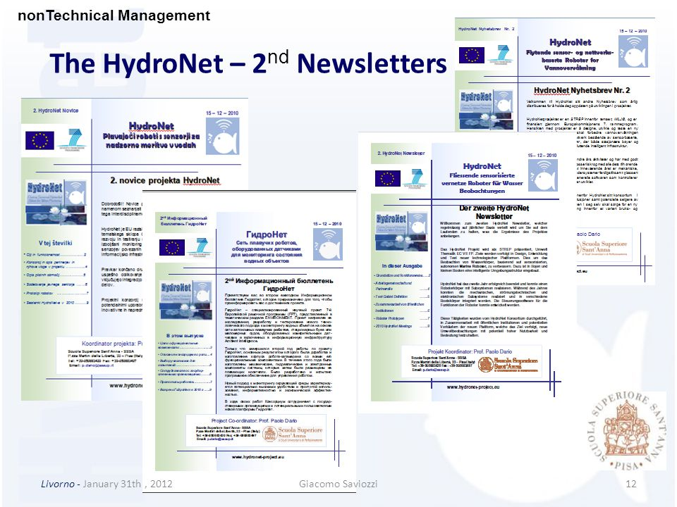 12Livorno - January 31th, 2012Giacomo Saviozzi The HydroNet – 2 nd Newsletters nonTechnical Management
