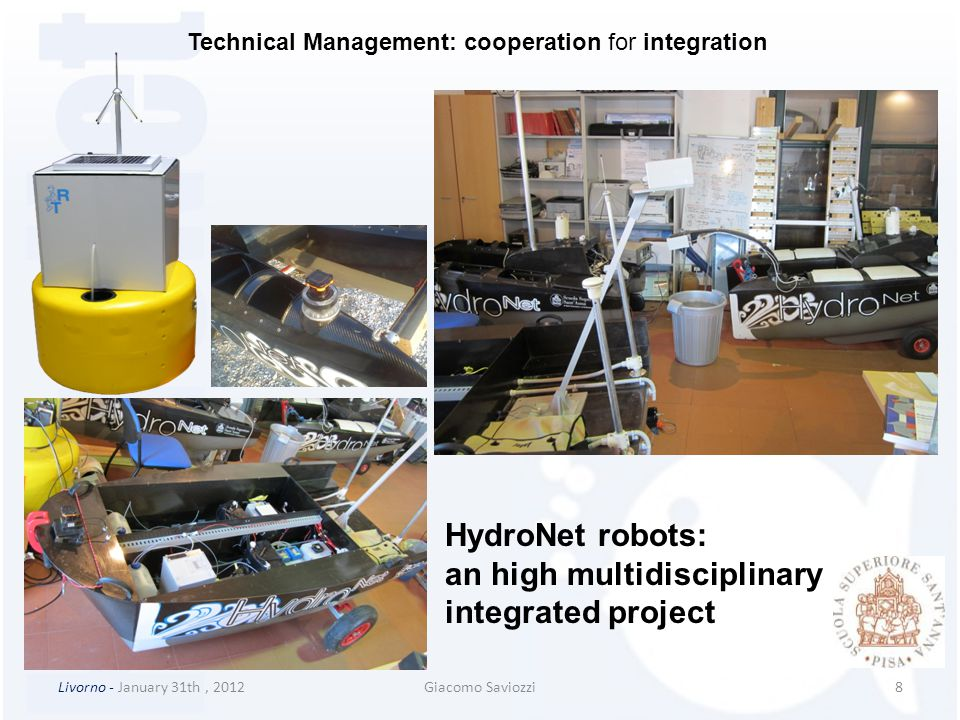 Livorno - January 31th, 2012Giacomo Saviozzi9 HydroNet robots datasheets Dissemination / Exploitation (to NILU) Technical Management: cooperation for integration