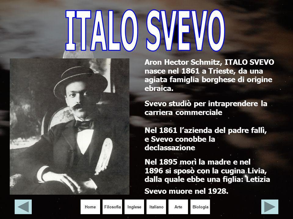 HomeIngleseItalianoArteBiologiaFilosofia Aron Hector Schmitz, ITALO SVEVO nasce nel 1861 a Trieste, da una agiata famiglia borghese di origine ebraica