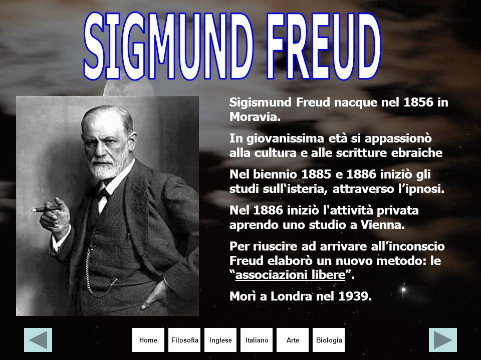 HomeIngleseItalianoArteBiologiaFilosofia Sigismund Freud nacque nel 1856 in Moravia. In giovanissima età si appassionò alla cultura e alle scritture e