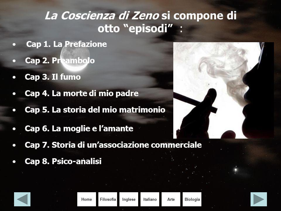 """HomeIngleseItalianoArteBiologiaFilosofia La Coscienza di Zeno si compone di otto """"episodi"""" : Cap 1. La Prefazione Cap 2. Preambolo Cap 3. Il fumo Cap"""