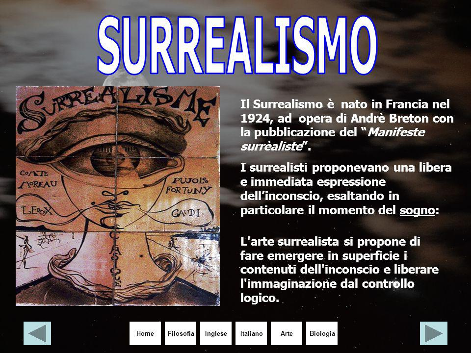 """HomeIngleseItalianoArteBiologiaFilosofia Il Surrealismo è nato in Francia nel 1924, ad opera di Andrè Breton con la pubblicazione del """"Manifeste surrè"""