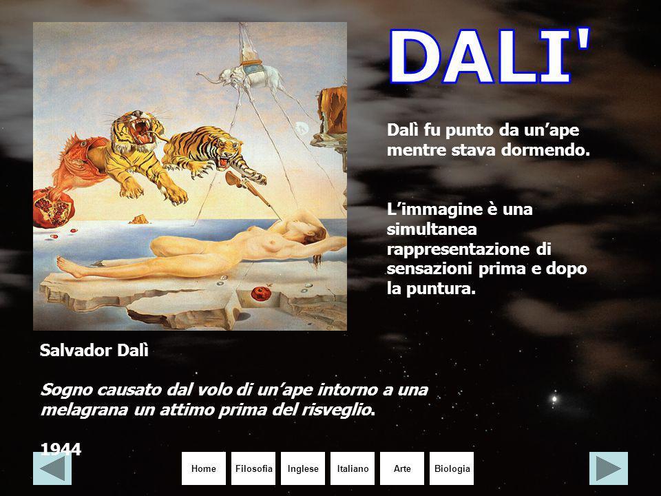 HomeIngleseItalianoArteBiologiaFilosofia Salvador Dalì Sogno causato dal volo di un'ape intorno a una melagrana un attimo prima del risveglio. 1944 Da