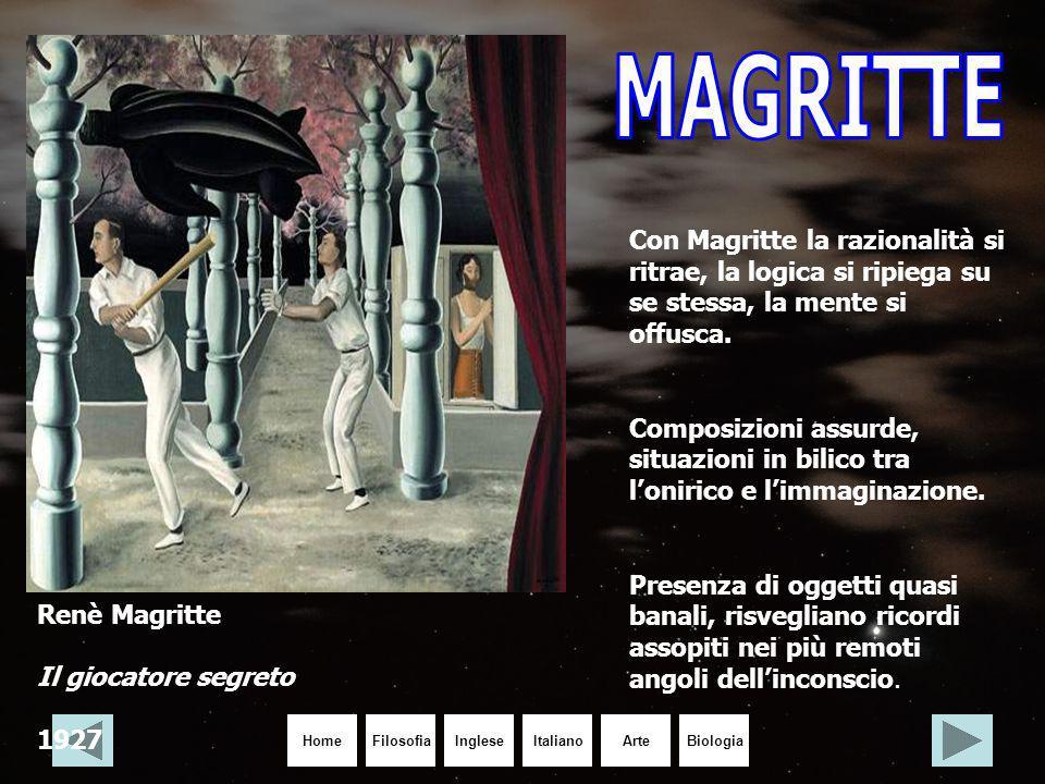 HomeIngleseItalianoArteBiologiaFilosofia Renè Magritte Il giocatore segreto 1927 Con Magritte la razionalità si ritrae, la logica si ripiega su se ste