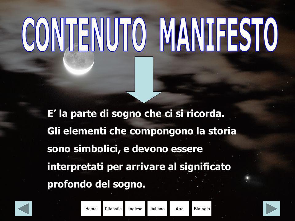 HomeIngleseItalianoArteBiologiaFilosofia E' la parte di sogno che ci si ricorda. Gli elementi che compongono la storia sono simbolici, e devono essere