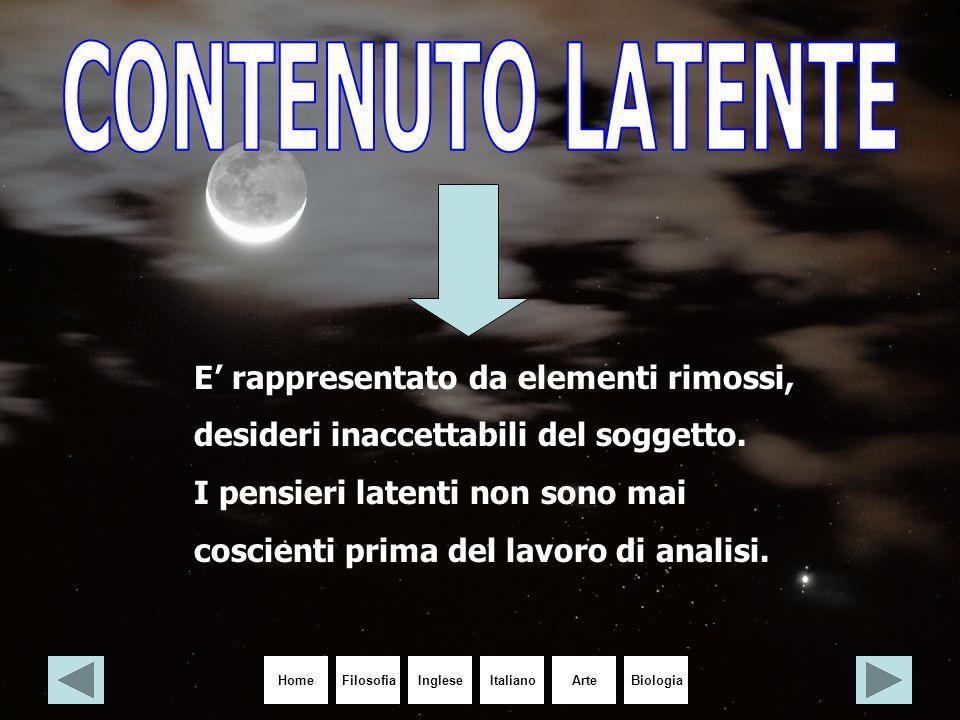 HomeIngleseItalianoArteBiologiaFilosofia E' rappresentato da elementi rimossi, desideri inaccettabili del soggetto. I pensieri latenti non sono mai co