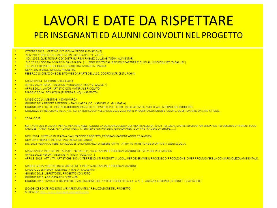 LAVORI E DATE DA RISPETTARE PER INSEGNANTI ED ALUNNI COINVOLTI NEL PROGETTO OTTOBRE 2013 : MEETING IN TURCHIA (PROGRAMMAZIONE) NOV.2013: REPORT DEL ME