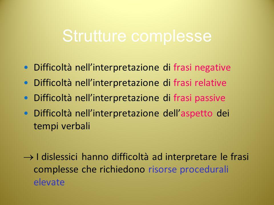 Strutture complesse Difficoltà nell'interpretazione di frasi negative Difficoltà nell'interpretazione di frasi relative Difficoltà nell'interpretazion