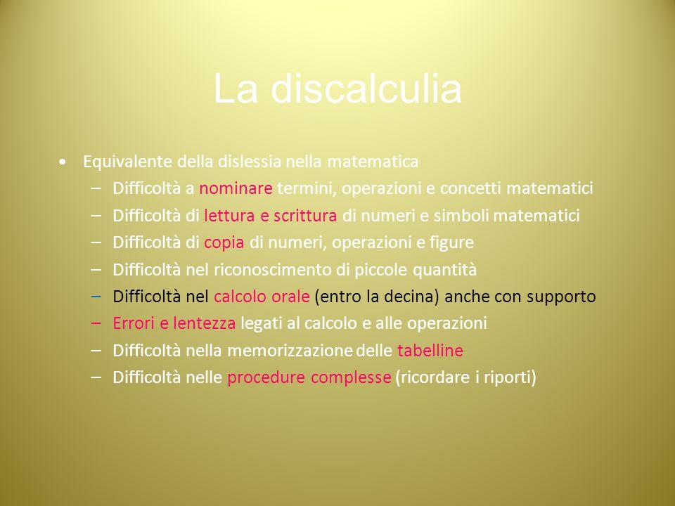 La discalculia Equivalente della dislessia nella matematica –Difficoltà a nominare termini, operazioni e concetti matematici –Difficoltà di lettura e
