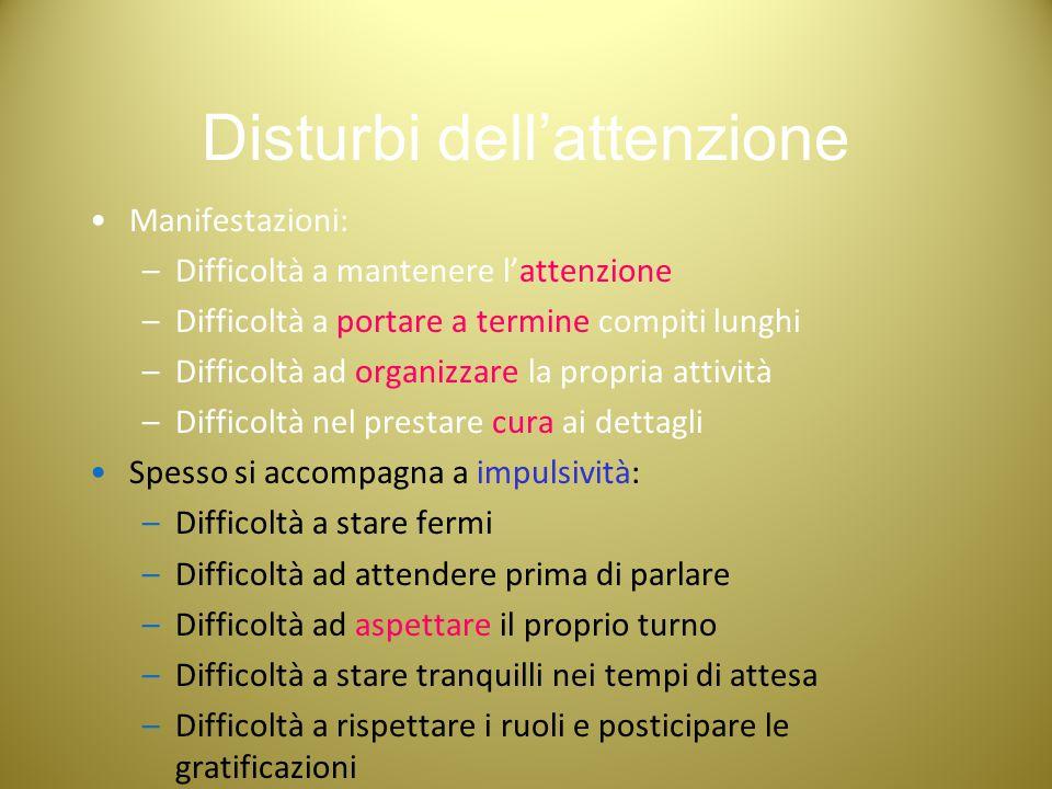 Disturbi dell'attenzione Manifestazioni: –Difficoltà a mantenere l'attenzione –Difficoltà a portare a termine compiti lunghi –Difficoltà ad organizzar