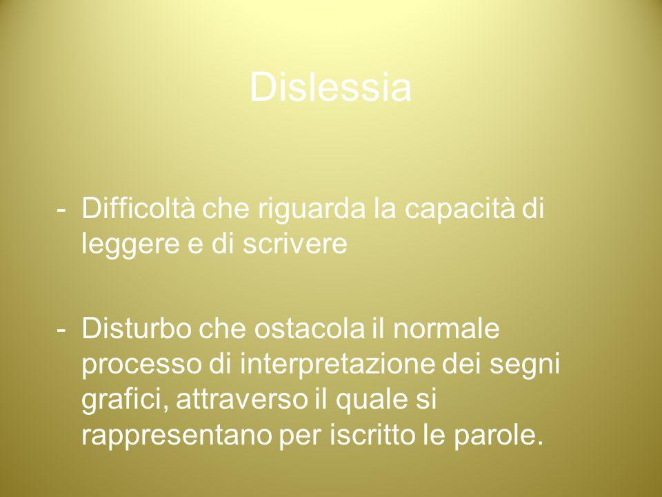 Dislessia -Difficoltà che riguarda la capacità di leggere e di scrivere -Disturbo che ostacola il normale processo di interpretazione dei segni grafic
