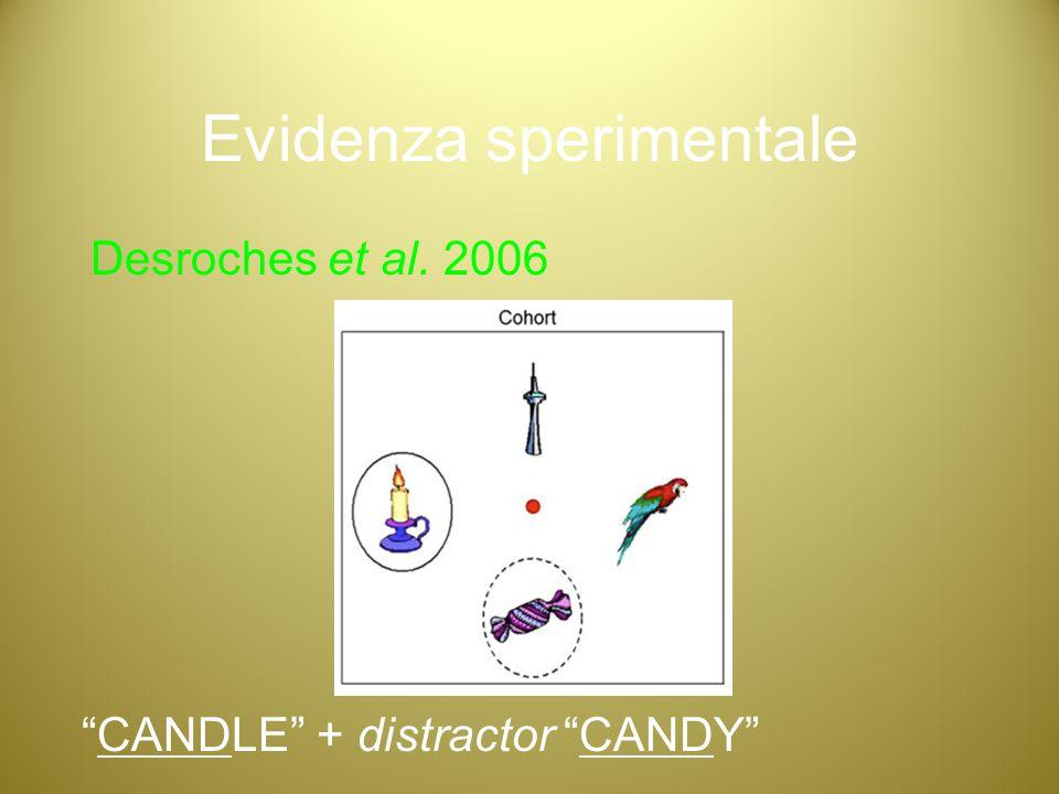 "Evidenza sperimentale Desroches et al. 2006 ""CANDLE"" + distractor ""CANDY"""